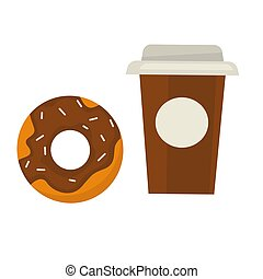 Chocolate donut with sprinkles and coffee in paper cup
