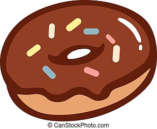 Iced donut with sprinkles. Illustration of a frosted donut ...