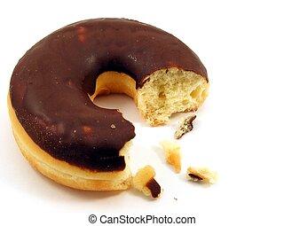 Chocolate doughnut - eaten - A chocolate doughnut with a ...