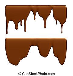 Chocolate - Set - liquid chocolate. Isolated over white
