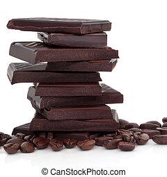 chocolate, e, feijões café