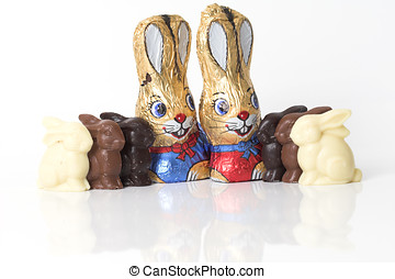 Chocolate easter bunnies on white background