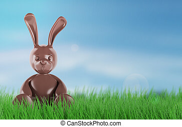 Chocolate easter bunny. 3d render