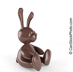 Chocolate easter bunny. 3d render. Isolated on white
