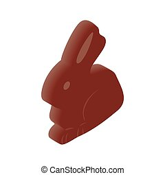 Chocolate easter bunny isometric 3d icon