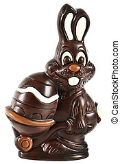 chocolate easter bunny with egg isolated on white...