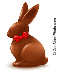 Chocolate Easter Bunny With Red Bow