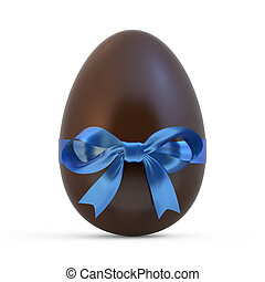 chocolate easter egg with blue ribbon on white background
