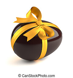 chocolate easter egg with yellow ribbon isolated on white...