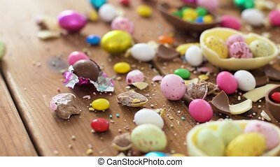 chocolate easter eggs and drop candies on table