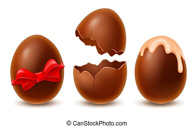 Chocolate Easter Eggs Set Broken, Whole, Decorated With Glaze And Red Bow