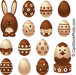 Chocolate Easter figures and eggs - Set of chocolate Easter...