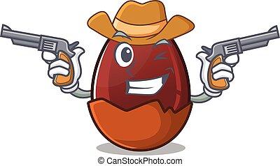 Chocolate egg Cowboy cartoon concept having guns
