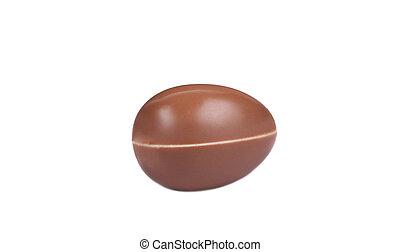 Chocolate egg on white background.