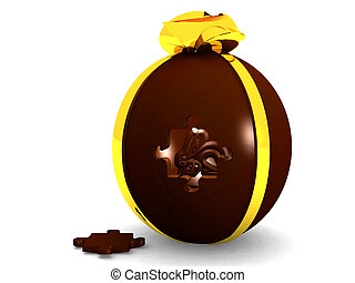 Chocolate egg with puzzle piece hole in front