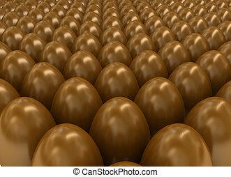 Chocolate eggs. 3d render