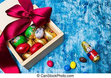 Chocolate eggs candies in a box