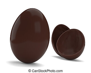 Chocolate Eggs - Chocolate easter eggs isolated on white...