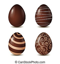 Chocolate eggs collection isolated on white background