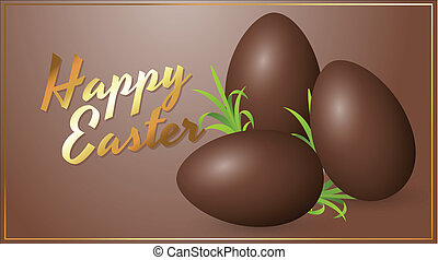 Chocolate Eggs Easter Card - Conceptual Artistic Design of...
