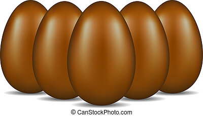 Chocolate eggs in formation - Chocolate eggs standing in...