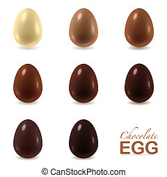 Chocolate eggs set - Different color chocolate eggs set from...