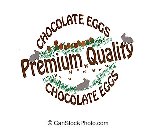 Chocolate eggs - Stamp with text chocolate eggs inside,...