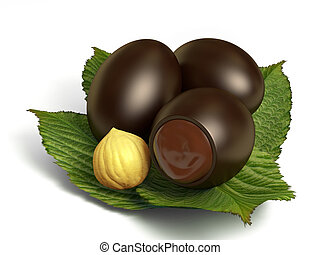 Chocolate eggs - Very high resolution 3d rendering of three...