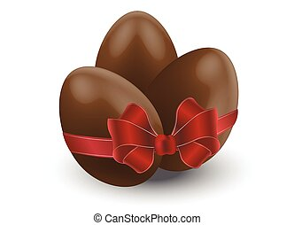chocolate eggs with bow - three chocolate eggs and red bow,...