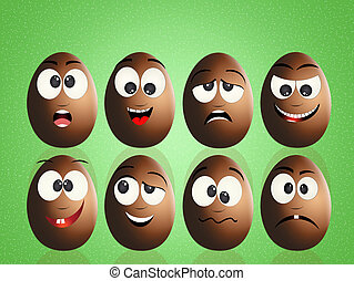 chocolate eggs with faces - illustration of chocolate eggs...