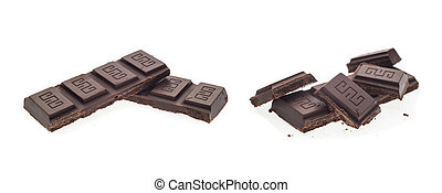 chocolate escuro, gostoso, colagem, fundo, isolado, branca, doce