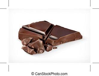 chocolate escuro, pedaços, vetorial, ícone