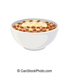 Chocolate flakes in a ceramic bowl closeup. Vector illustration on white background.
