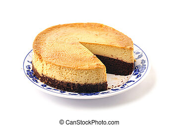 Chocolate flan - Plate of large layered chocolate and plain...