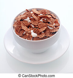 Chocolate flavored breakfast cereal