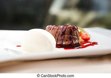 Chocolate fondant with ice cream - Chocolate fondant with...
