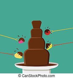 Chocolate Fondue party in flat style, vector design