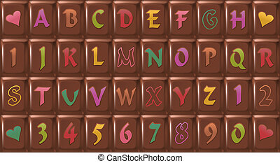 Chocolate-Font - Chocolate bar with letters consisting of 40...