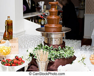 chocolate fountain spread - one tall 4 level chocolate...