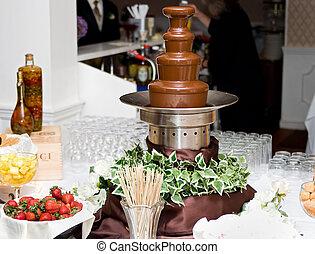 chocolate fountain spread - one tall 4 level chocolate...