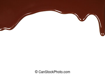 chocolate, fundido, goteo, plano de fondo, blanco
