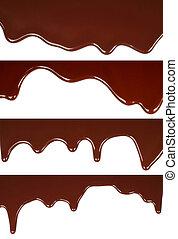 chocolate, fundido, goteo, plano de fondo, conjunto, blanco