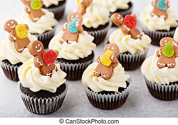 Chocolate ginger cupcakes for Christmas