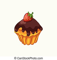 Chocolate glazed muffin with strawberry isolated