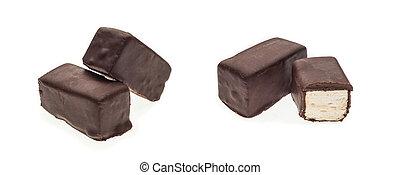 chocolate, gostoso, marshmallows, colagem, fundo, isolado, branca, doce