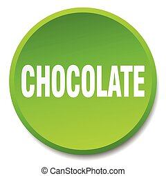 chocolate green round flat isolated push button