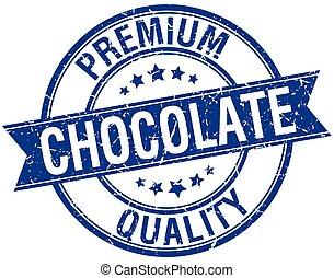 chocolate grunge retro blue isolated ribbon stamp