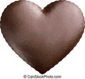 Chocolate heart low polygon.
