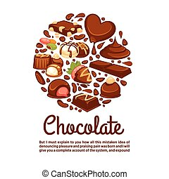 Chocolate heart poster template of confectionery desserts...