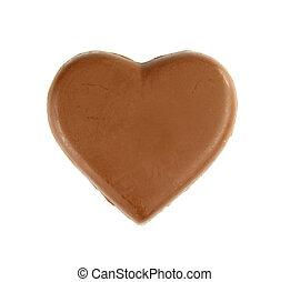 chocolate heart shape on white background
